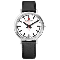 Mondaine Mst.4101B.Lb Unisex Stop 2 Go Leather Strap Watch Black White