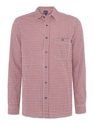 Perry Ellis Men's America Cotton Gingham Long Sleeve Shirt Dark Red