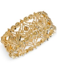 2028 Gold Tone Imitation Topaz Filigree Stretch Bracelet