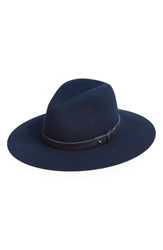 Rag And Bone Wide Brim Wool Fedora Navy