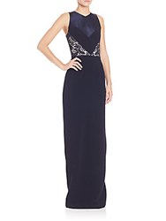 Theia Lace Insert V Neck Gown Midnight