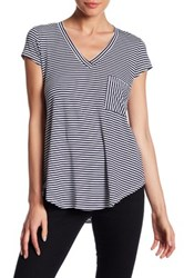 H By Bordeaux Striped V Neck Tee Blue