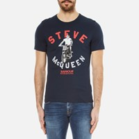 Barbour X Steve Mcqueen Men's Leap T Shirt Navy Blue