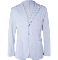 Faconnable Blue Stretch Cotton And Silk Blend Seersucker Blazer