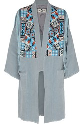 Etro Beaded Fringed Suede And Linen Jacket Blue