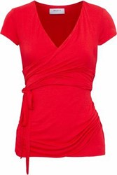 Bailey 44 Wrap Effect Jersey Top Red