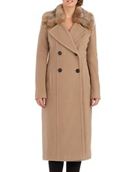 Planet London Double Breasted Faux Fur Collar Coat Camel
