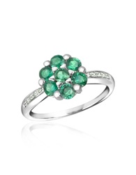 Incanto Royale Emerald And Diamond 18K Gold Ring Silver