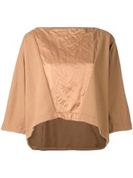 Andrea Ya'aqov Panelled Boxy T Shirt Women Cotton Polyamide Metal Xs Nude Neutrals