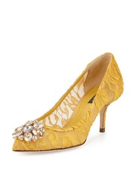 Dolce And Gabbana Jewel Embellished Lace Pump Senape