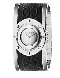 Twirl Stainless Steel Guccissima And Bee Leather Bangle Analog Watch 112 J Silver