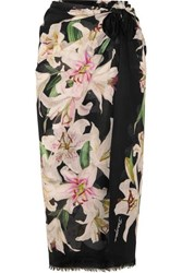 Dolce And Gabbana Floral Print Cotton Voile Pareo Black