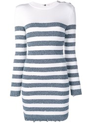 Balmain Horizontal Stripes Knitted Dress White