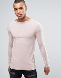Asos Long Sleeve Extreme Muscle T Shirt With Boat Neck In Pink Pink