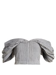 Jonathan Simkhai Off The Shoulder Gingham Cropped Top Blue White