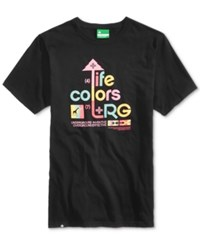 Lrg Men's Life Colors Graphic Print Cotton T Shirt Black
