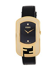 Fendi Chameleon Leather And Stainless Steel Watch Black
