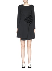 Chictopia Origami Rose Faux Wrap Wool Dress Black