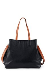 Sole Society Hester Faux Leather Tote Black Black Cognac