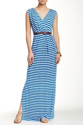 Tart Charlandra Printed And Genuine Leather Belted Maxi Dress Blue