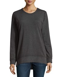 Neiman Marcus Draped Open Back Long Sleeve Raglan Tee Black