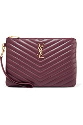Saint Laurent Monogramme Quilted Leather Pouch Merlot