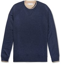 Brunello Cucinelli Contrast Tipped Melange Cashmere Sweater Blue