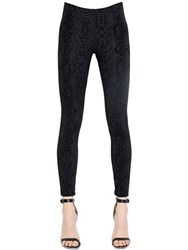 David Lerner Python Flocked Techno Jersey Leggings
