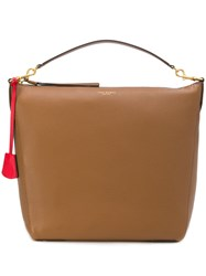 Tory Burch Contrasting Tag Tote Brown