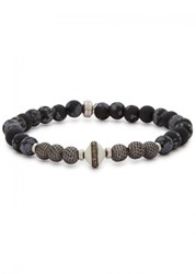 Tateossian Black And Silver Tone Beaded Bracelet