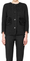 Leon Max Boiled Boucle Jacket With Faux Fur Pockets