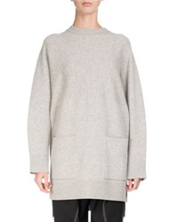 Proenza Schouler Long Sleeve Double Face Cashmere Tunic Gray White Gray White