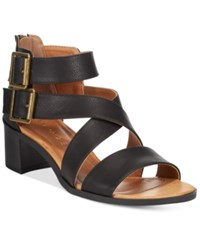Rampage Havarti Block Heel City Sandals Women's Shoes Black