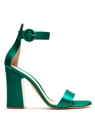Gianvito Rossi Tandi Block Heel Satin Sandals Green
