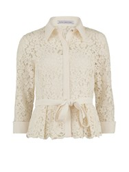 Gina Bacconi Lace Blouse With Contrast Trim And Belt Cream