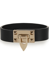 Valentino Metal Glam Gold Tone And Leather Bracelet