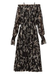 Norma Kamali Floral Print Tiered Off The Shoulder Midi Dress Black Print