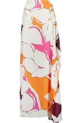 Diane Von Furstenberg Molly Draped Printed Silk Maxi Skirt White