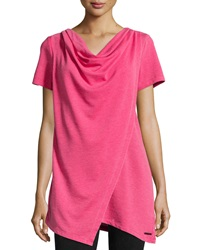 Marc Ny Performance Short Sleeve Cowl Neck Tunic W Wrap Detail Brgt Rose