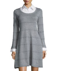 Hms Productions Cable And Gauge Ottoman Knit Long Sleeve Sweaterdress Heather Gr