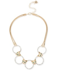 Betsey Johnson Gold Tone Fox Crystal Ring Collar Necklace