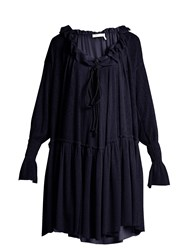 See By Chloe Ruffled Gauze Jersey Dress Navy