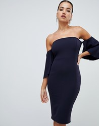 Ax Paris Off The Shoulder Midi Dress Navy