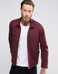 Asos Harrington Jacket With Funnel Neck In Burgundy Burgundy Red