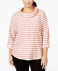 Styleandco. Style And Co. Sport Plus Size Striped Funnel Neck Sweatshirt Only At Macy's