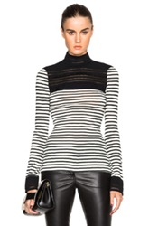 Yigal Azrouel High Neck Lace Knit Top In Black White Stripes