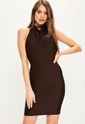 Missguided Brown High Neck Cowl Bodycon Dress Chocolate