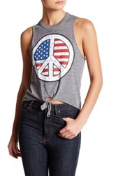 Chaser Triblend Tie Front Muscle Tank Gray