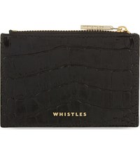 Whistles Crocodile Embossed Leather Coin Purse Black