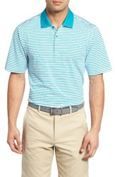 Cutter And Buck Men's Seapines Stripe Moisture Wicking Polo Tidal